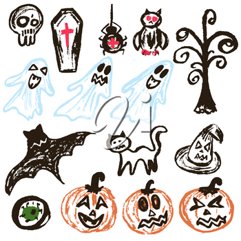 Halloween. A set of funny objects. Vector illustration. Collection of festive elements. Autumn holidays. Pumpkin, eye, coffin, tree, bat, spider, cat, witch hat, owl, skull, ghosts