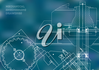 Blueprints. Mechanical drawings. Engineering illustrations. Technical Design. Banner. Blue background
