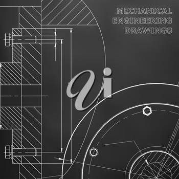 Black background. Technical illustration. Mechanical engineering. Technical design. Instrument making. Cover, banner, flyer, background. Corporate Identity