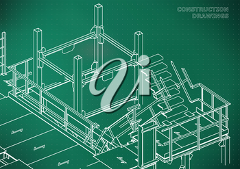 Building. Metal constructions. Volumetric constructions. Light green background. Points
