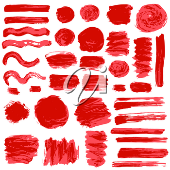 Collection of red ink, ink, brush strokes, brushes, lines, grungy. Waves, Messy decoration elements, boxes, frames Vector Isolated over white background