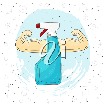 Antiseptic with strong hands, strong man. Vector illustration hand drawing design on white background. Coronavirus protection