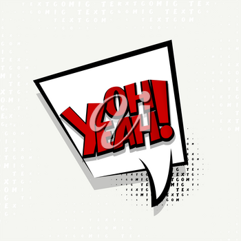 Lettering oh yeah. Comics book balloon.  Bubble icon speech phrase. Cartoon exclusive font label tag expression. Comic text sound effects. Sounds vector illustration.