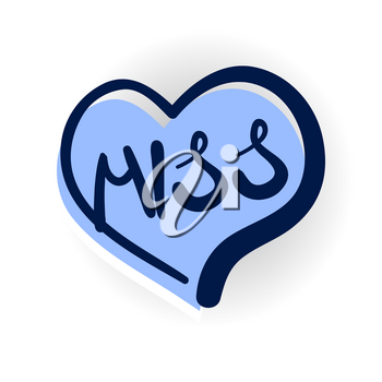 miss, love, romantic lettering. Comics book balloon. Vector bubble icon speech phrase. Cartoon exclusive font label tag expression, sounds illustration with shadow. Comic text sound effects.