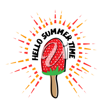 Abstract vector illustration Hello summer. Strawberry pink ice cream on a stick in style Doodle. Juicy summer banner. Greeting summer simple comic picture.