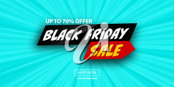 3d comic book cartoon black friday sale banner. Vector layout banner on halftone radial background. Cartoon explosion Black Friday design.