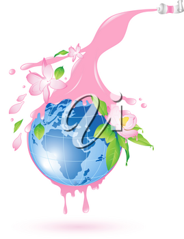 flowering planet with splashes of pink paint and flowers