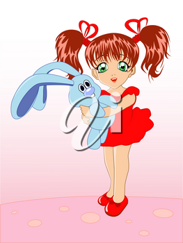 little girl with a toy rabbit in hands on a pink background