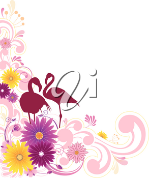 floral background  with flowers, leaves, ornament and flamingo