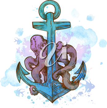 Vintage hand drawn vector anchor and octopus on a blue watercolor background.
