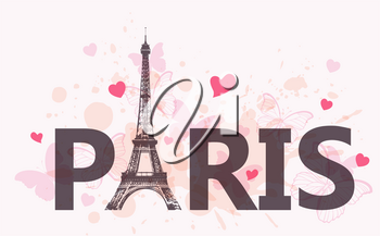 Abstract travel background with Eiffel Tower, hearts and pink butterflies. Vector illustration.