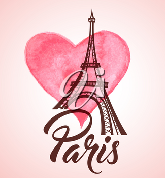 Valentine's day greeting card with Eiffel Tower and pink watercolor heart