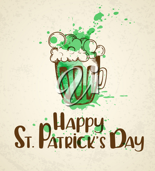 Green beer and watercolor blots. Vintage greeting card for St. Patrick's day