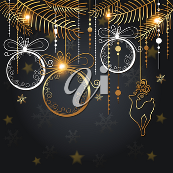 Christmas background with golden decorations and fir branch on a black background. Design for New year greeting card. Vector illustration