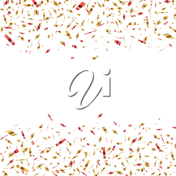 Festive vector horizontal banner with red and golden confetti on a white background.