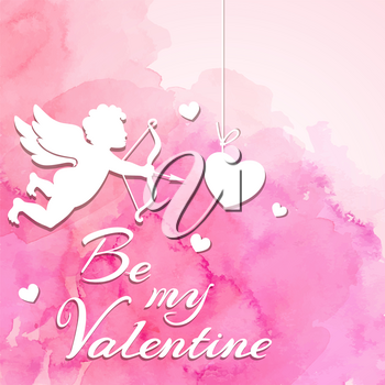 Pink watercolor romantic Valentine background with cupid and hearts cut out of paper. Vector illustration.