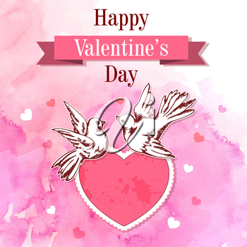Pink watercolor vintage Valentine background with two birds and heart. Hand drawn vector illustration.
