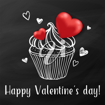 Sweet cake with red hearts on a black background. Greeting card for Valentine's day. Hand drawn vector illustration.