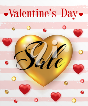Decorative striped background for Valentine's day sale with golden and red heart balloons. Vector illustration.