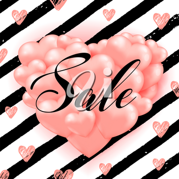 Decorative striped background for Valentine's day sale with pink heart balloons and black lines. Vector illustration.