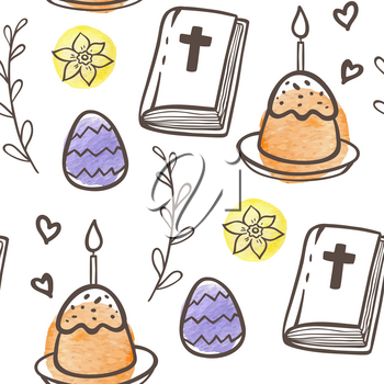 Hand drawn doodle Easter seamless pattern with eggs, cake and Bible on a white background. Vector illustration.