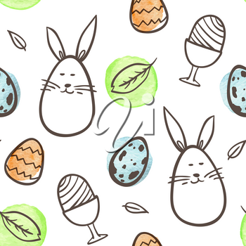 Hand drawn doodle Easter seamless pattern with rabbit and eggs on a white background. Vector illustration.