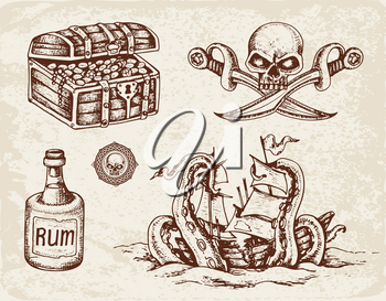 Set of vector hand drawn pirates design elements. Vintage style.
