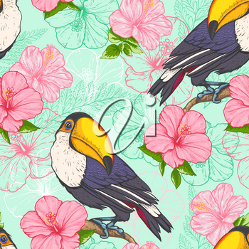 Tropical seamless pattern with toucan and flowers on a green background. Hand drawn vector illustration.