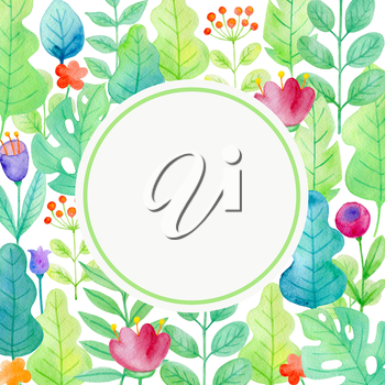 Watercolor floral frame with flowers and green leaves on a white background. Greeting card with flowers