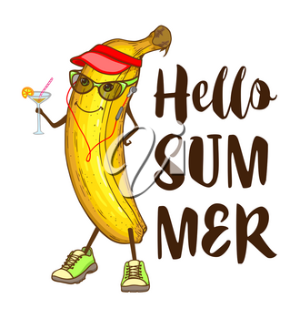 Cute cartoon banana fruit with cocktail and music player. Hand drawn summer tropical illustration