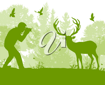 The man photographs a deer in the forest. Wildlife protection and ecology concept. Vector illustration