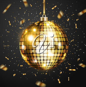Christmas greeting card with golden glittering confetti and golden ball on a black background. Vector illustration.
