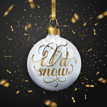 Christmas greeting card with golden glittering confetti and white decoration on a black background. Vector illustration. Let it snow lettering.