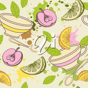 Vintage pattern with tea cup, green leaves and fruits. Hand drawn vector background