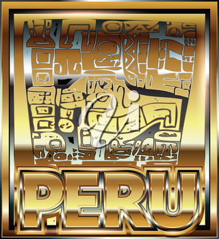 Ancient Peruvian gold ornament illustration