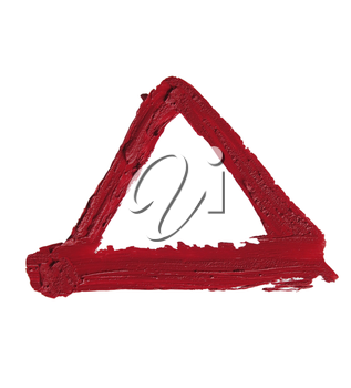 close up of a RED smudged lipstick Triangle Shape on white background