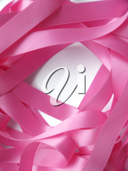 Pink ribbon over white background, design element. Clipping Path included