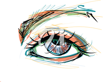 Sketch of Beautiful eye with long eyelashes