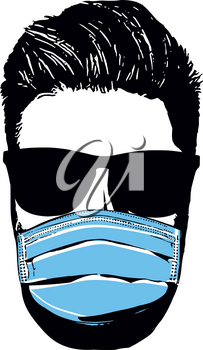 Man faces with mask. Covid 19. Vector Illustration