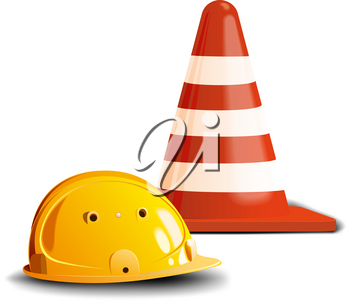 Yellow construction helmet and a red road cone isolated on white background