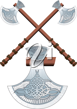 Two crossed ornate Celtic ax on a long handle