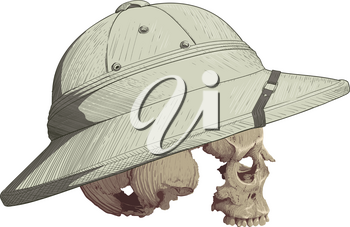 human skull in profile without mandible clad in tropical cork helmet painted as engraving isolated on white background