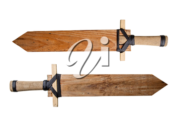 two children s homemade toy wooden swords isolated on white background