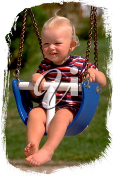 Royalty Free Photo of an Infant Child in a Baby Swing