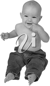 Royalty Free Black and White Photo of a Happy Infant Sitting Up