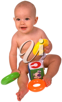 Royalty Free Photo of an Infant Child Sitting, Playing with Toys