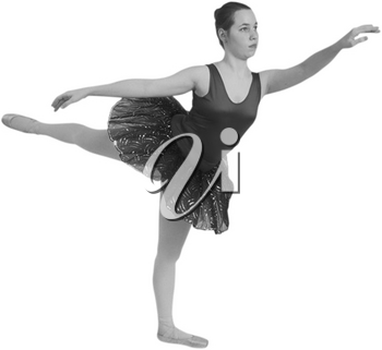 Royalty Free Black anf White Photo of a Ballerina