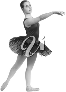 Royalty Free Black and White Photo of a Ballerina