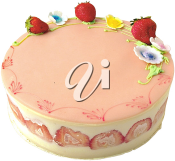 Royalty Free Photo of a Cake Decorated with Strawberries