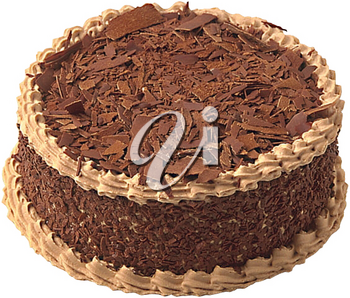 Royalty Free Photo of a Fancy Chocolate Cake with Shredded Chocolate on Top